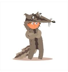 Boy desguised as badger vector