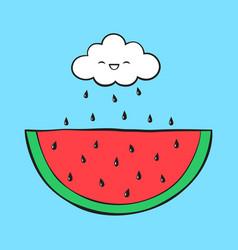 Cartoon cloud and watermelon vector