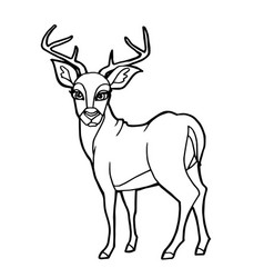 Cartoon cute deer coloring page vector