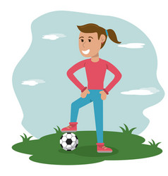 Cartoon girl with soccer ball in meadow vector