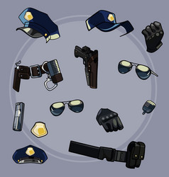 cartoon set items of uniforms and weaponry vector image vector image