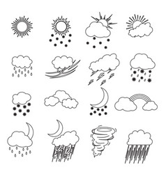 cartoon weather thin line icons set vector image vector image