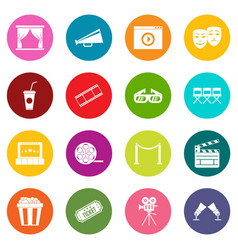 cinema icons many colors set vector image vector image