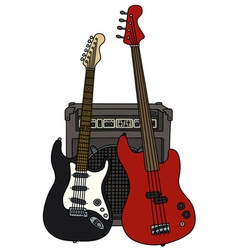 Classic and bass electric guitars and the combo vector