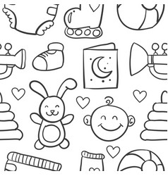 Collection stock of baby element doodles vector