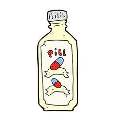 Comic cartoon old bottle of pills vector