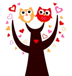 Cute love Owls on tree isolated on white vector image vector image
