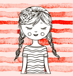 cute teen girl vector image