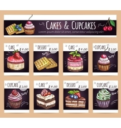 Desserts menu Sletched cupcakes cakes prices vector image