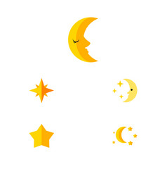 Flat icon bedtime set of asterisk moon nighttime vector