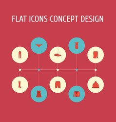 flat icons pants apparel lingerie and other vector image vector image