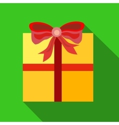 Gift box with ribbon and bow icon flat style vector