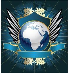 Globe emblem vector