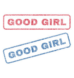 good girl textile stamps vector image vector image