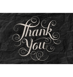 Hand lettering thank you black paper background vector