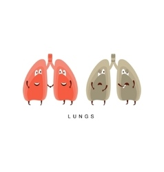 Healthy vs unhealthy lungs infographic vector