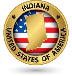 Indiana state gold label with state map vector image vector image