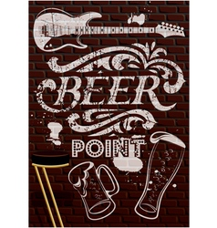 inscription in white paint with beer glasses vector image vector image