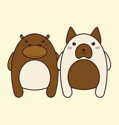kawaii couple of animals icon vector image vector image