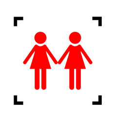 Lesbian family sign red icon inside black vector