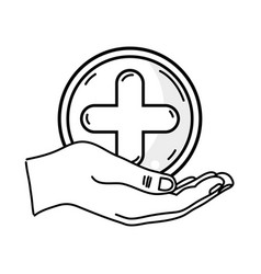 Line hand with cross medicine symbol to help the vector