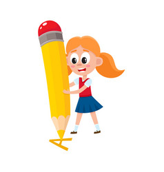 Little girl writing letter a with giant pencil vector