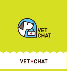 Logo vet chat dog vector