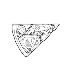 outline fast food piece of pizza icon vector image