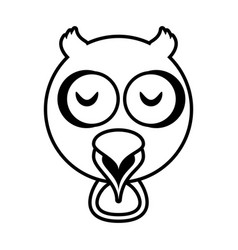 outline owl head animal vector image