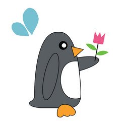 Penguin holding flowers vector