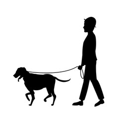 pictogram man hat walking with dog pet vector image