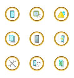 Repair phones fix icons set cartoon style vector