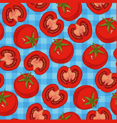 Ripe red tomato seamless pattern vector