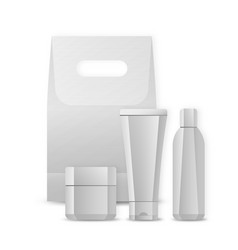 Set of blank package for cosmetic product isolated vector