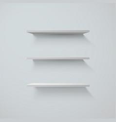 set of white shelfs on a wall vector image