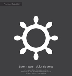 Ship wheel premium icon white on dark background vector