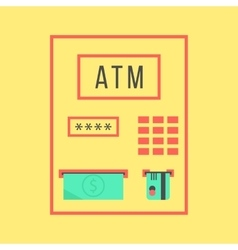 simple atm template isolated on yellow background vector image vector image