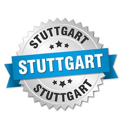 Stuttgart round silver badge with blue ribbon vector