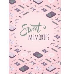 Sweet memories decorating design vector