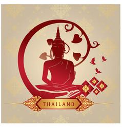 Thailand buddha statue copper background im vector
