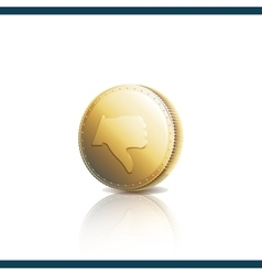 Thumb down on gold coin vector image vector image
