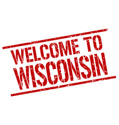 Welcome to wisconsin stamp vector