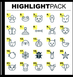 Zoo icons set collection of cobweb puppy vector