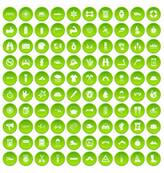 100 rafting icons set green circle vector