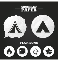 Tourist camping tent signs fire flame icons vector