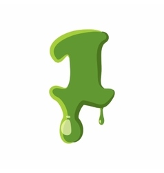 Numder 1 made of green slime vector image
