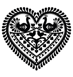 Polish folk art heart pattern for Valentines Day vector image