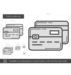 Credit cards line icon vector