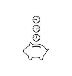 Time is money piggy bank icon vector image
