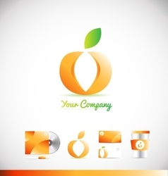 Fruit apple orange logo icon design vector